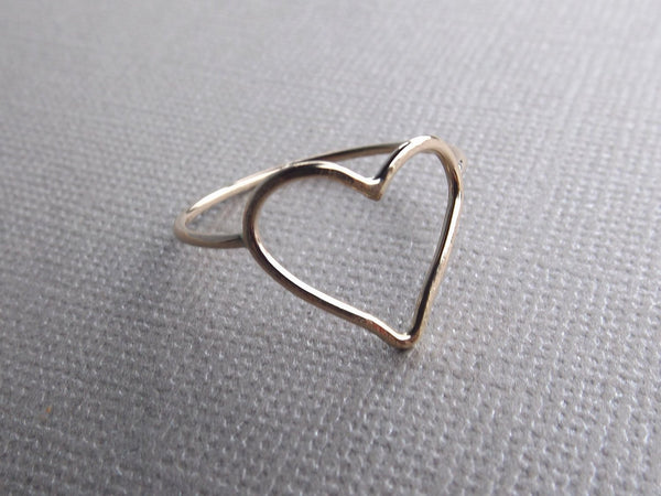 Minimalist Heart Ring, Gold Ring, Stacking Ring, Heart Ring, Open Heart Ring, Heart Rings, Artsy Heart Ring, Gift