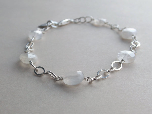 Rainbow Moonstone Bracelet, Sterling Silver Bracelet, Faceted Moonstone Bracelet, Sterling Moonstone Jewelry, Faceted Moonstone