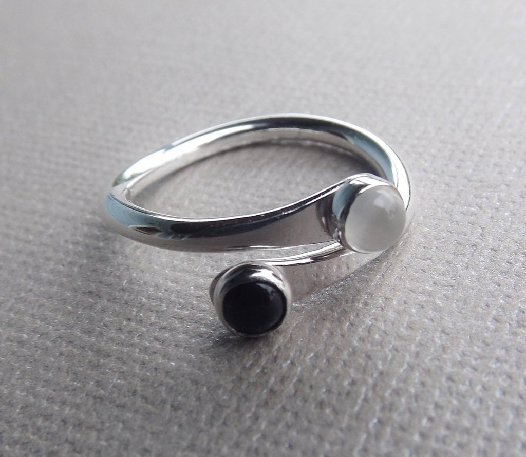 Sterling Rings, Stacking Rings, Contrast Stacking Rings, Yin and Yang Rings, Simple Thick Rings, Light and Dark Rings, Minimalist Jewelry