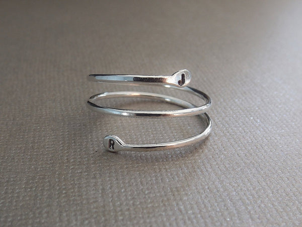 Coil Design Initial Ring, Personalized Ring, Organic Ring, Initial Ring, Recycled Ring, Sterling Letter Ring, Simple Ring, Couples Ring,Gift