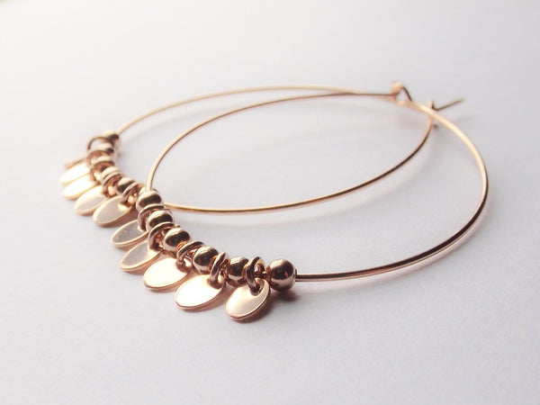 Large Rose Gold Fringed Hoop Earrings, Large Hoop Earrings, Rose Gold Earrings, Hoop Earring, Large Pear Hoop Earrings, Boho Fringe Earrings