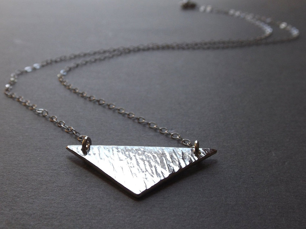 Textured Sterling Silver Chevron Necklace, Minimalist Jewelry, Geometric Statement Necklace, Sterling V Bar Necklace, Modern Minimalist