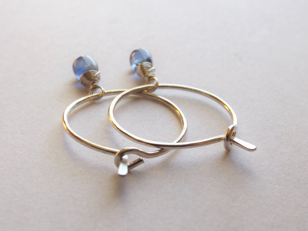 Kyanite Earrings, Hoop Earrings,Sterling Earrings, Blue Earrings,Modern Earrings, Small Earrings, Simple Hoop Earrings, Earrings