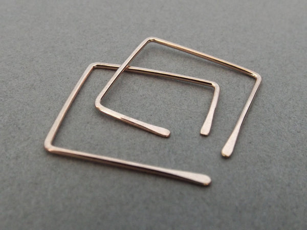 Square Earrings, Square Post Earrings, Square Hoop Earrings, Square Earrings, Rose Gold Earrings, Customizable Earrings, Square Jewelry