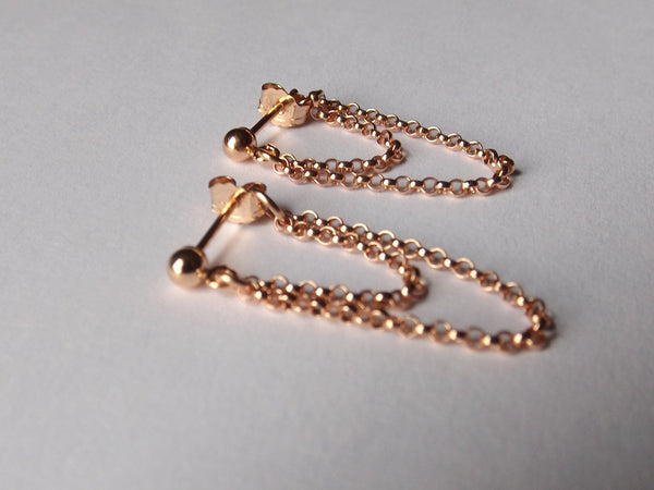 NEW AVAIL Tiny Chain Earrings, Simple Chain Earrings, Rose Gold Earrings, Dangle Earrings, Chain Stud Earrings, Boho Chain Earrings