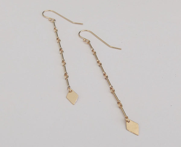 Long Gold Chain Earrings,Sleek Chain Earrings,Yellow Goldfill Earrings,Gold Earrings,Diamond Dangle Earrings,Featherweight Earrings,Long