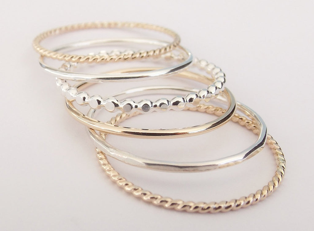 Silver and Gold Stacking Set,6 Ring Set,Stacking Rings,Set,Multi Texture Ring Set,Textured Rings,Stacking Rings Set,Gold Rings,Silver Rings