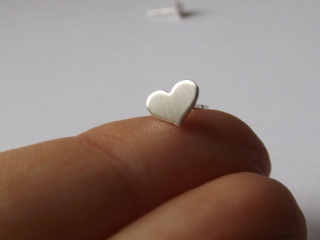 Tiny Heart Earrings,Small Heart Earrings,Heart Earrings,Matte Earrings,Stud Earrings,Valentines Earrings,Modern Jewelry,Minimalist,Gift
