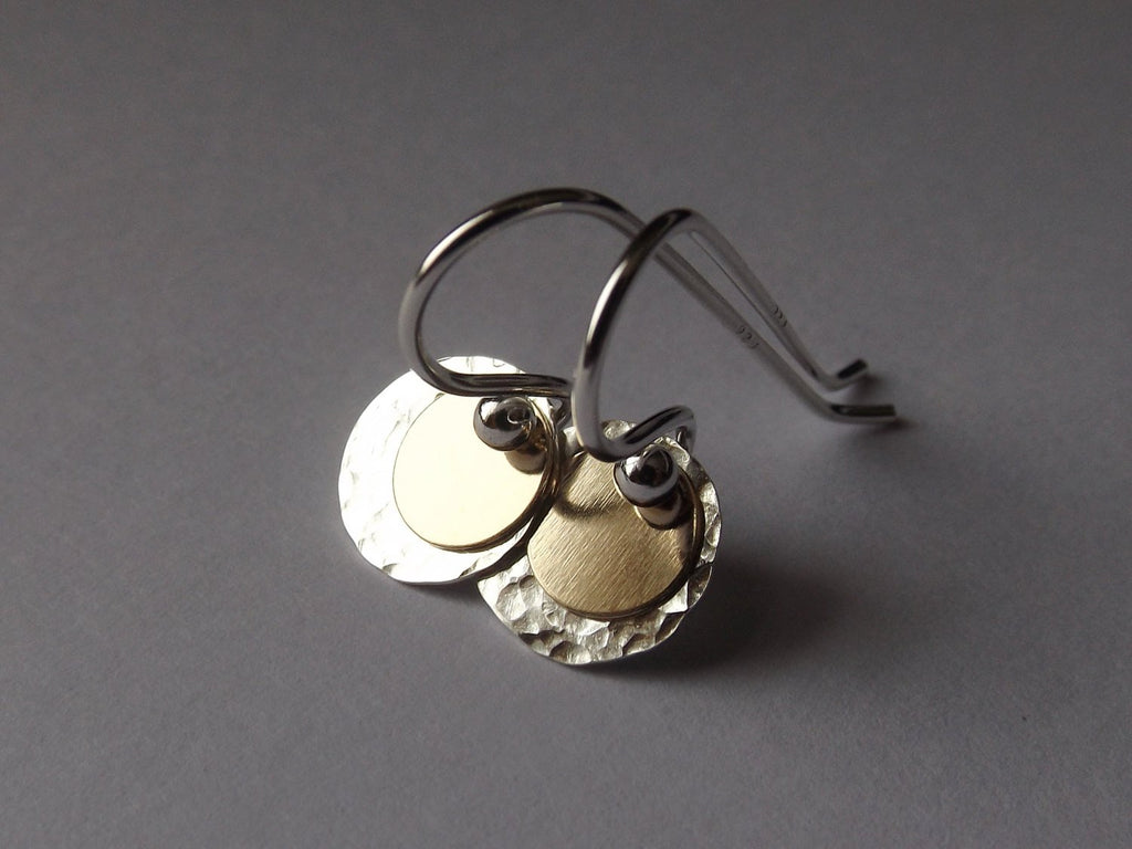 Gold & Silver Disc Earrings, Textured Earrings, Drop Earrings,Circle Earrings, Dangle Earrings, Metal Earrings, Simple Minimalistic Earrings
