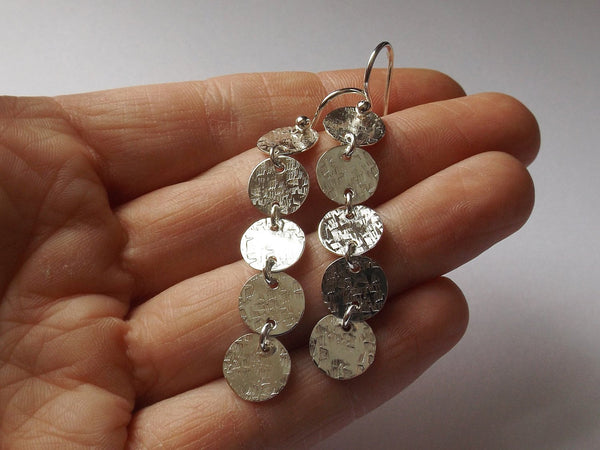 Silver Dangle Earrings, Textured Earrings,Contemporary Earrings,Modern Earrings,Lightweight Earrings,Customizable Disc Earrings,Long Dangle