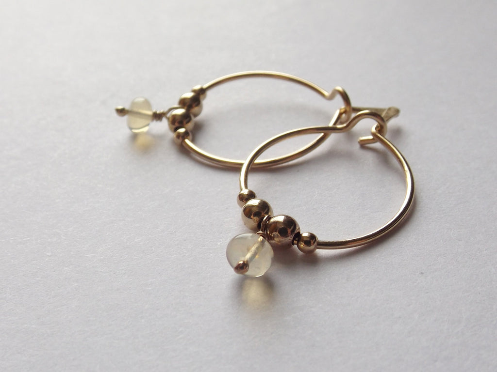 Opal Hoop Earrings,Gold Hoop Earrings,Simple Gold Earrings,Tiny Hoop Earrings,Modern Opal Earrings,Small Earrings,Simple Hoop Earrings, Opal