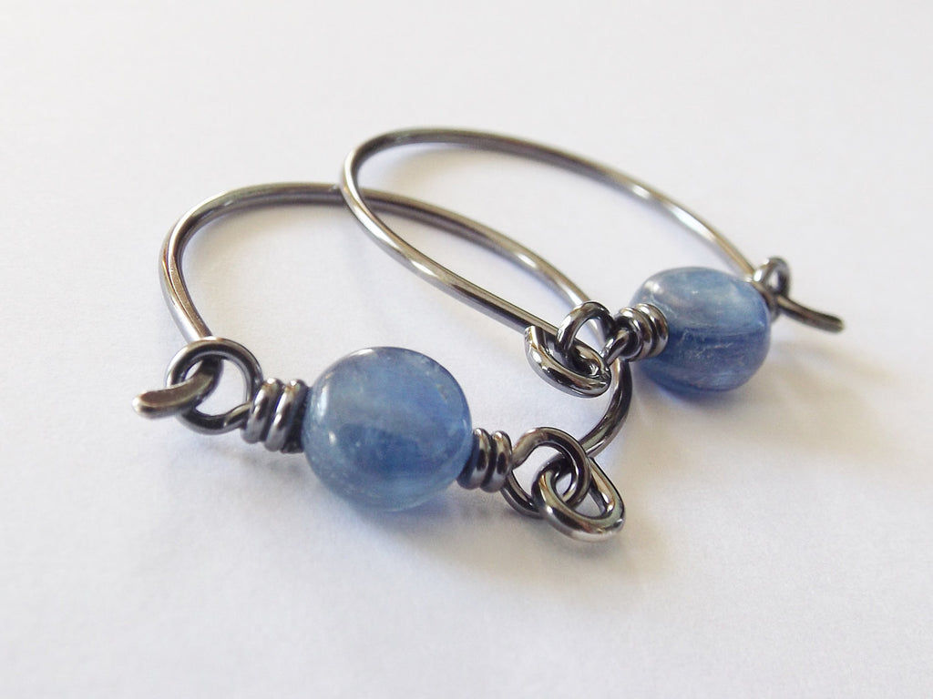 Kyanite Hoop Earrings, Oxidized Sterling Silver, Wide Hoop Earrings, Kyanite Jewelry, Unique Earrings, Kyanite, Modern Hoop Earrings