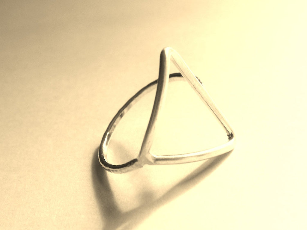 Modern Triangle Ring,Gold/Silver Triangle Ring,Modern Ring,Cocktail Rin,Minimalist,Simple Sterling Open Triangle Ring,Sideways Triangle