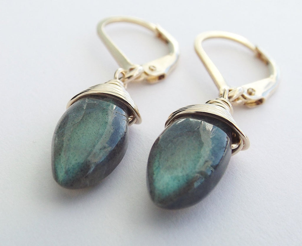 Labradorite Earrings, Dangle Earrings, Marquise Blue Fire Labradorite Earrings, Labradorite Jewerlry, Gold Earring, Simple Gemstone Earrings