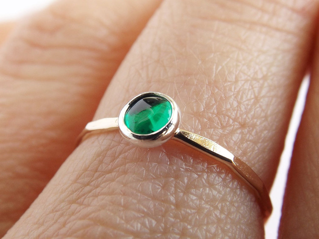 Emerald Ring,Gemstone Ring,Engagement Ring,Romantic Ring,Green and Gold,Emerals,Mixed Metal Stacking Ring,Gold Gemstone Ring,Unique
