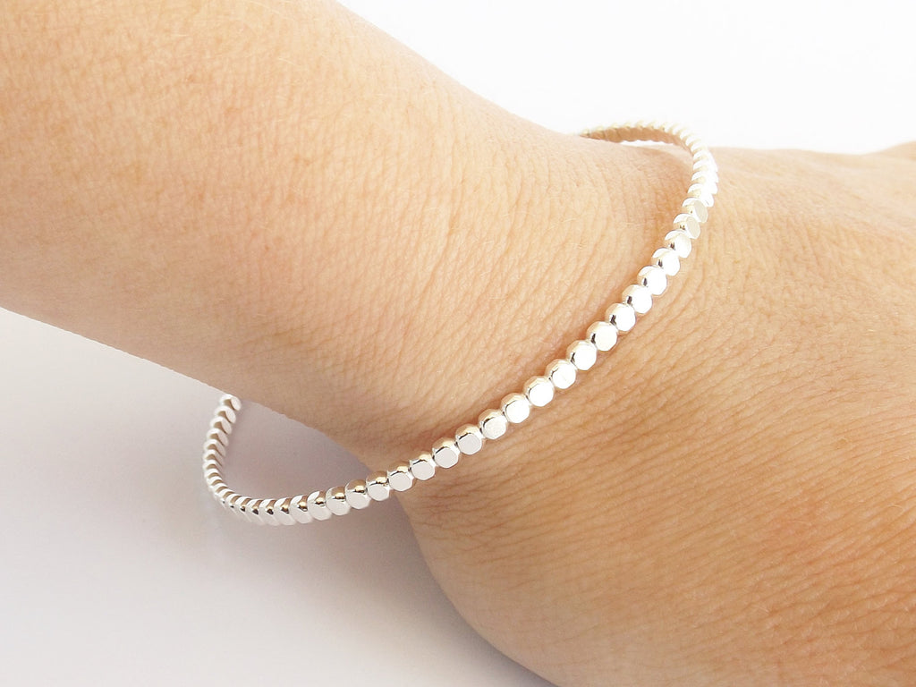 Beaded Bangle Bracelet, Bangle, Beaded Bangle, Sterling Bangle, Bangle Stacking Bracelet, Simple Bangle, Modern Bangle, Thick Beaded Bangle