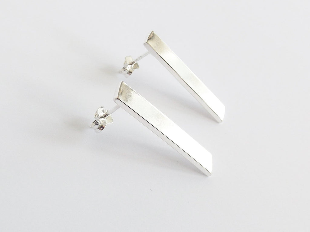 Long Silver Bar Earrings,Thick Bar Earring,Modern,Sterling Earrings,Bar Earrings,Silver Stick Earrings,Silver Bar Earrings,Thick Bar Earring