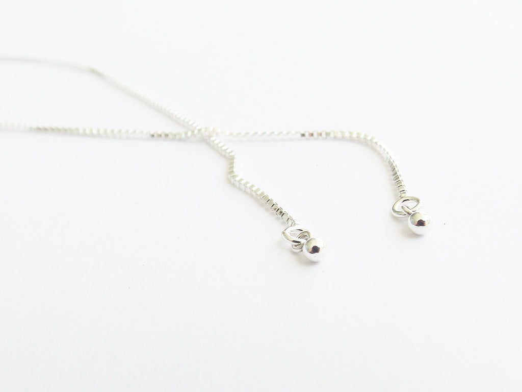 Threader Earrings,Simple Threaders,Super Tiny Bead Threader,Sleek Earrings,Simple Everyday,Modern Jewelry,Unique Slender,Silver Drop Earring