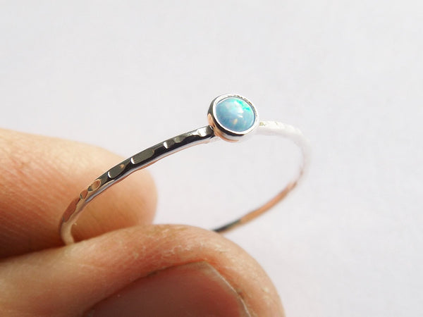 Slim Textured Opal Stacking Ring,Slim Ring,Stacking Gemstone Ring,Customizable Rings,Textured Rings,Wisper Gemstone Rings,Gift,Blue Opal