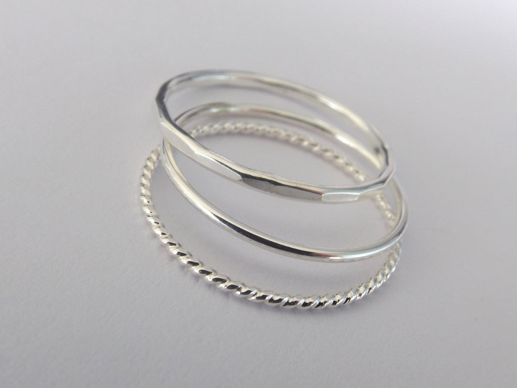Silver Stacking Ring Set,Textured Ring Set,Textured Rings,Faceted Ring,Boho Ring Set,Stacking Rings,Boho Chic,Beaded Rings,Multi Texture