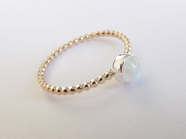 Rainbow Moonstone,Beaded Ring,Mixed Metal Stacking Ring,Unique Design,Beaded Ring,Gold and Silver Ring,Moonstone Stacking Ring,Gold Ring,FMJ