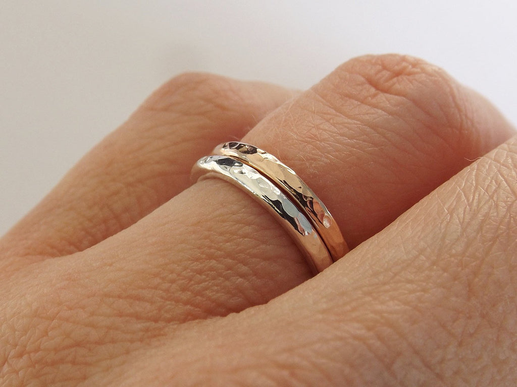 Thick Textured Ring Set,Sterling And Gold Rings,Stacking Rings,Modern Boho Ring Set,Textured Rings,Boho Chic,Minimalist Rings,Thick Rings