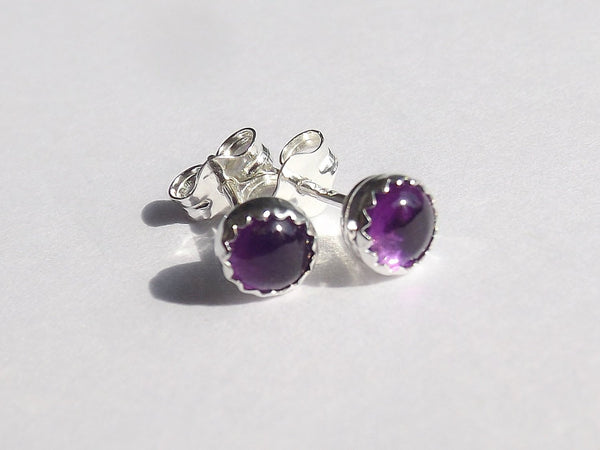 Amethyst Earrings,Simple Earrings,Purple Earrings,Post Earrings,February Birthstone,Minimalist Earrings,Everyday Jewelry,Purple Amethyst