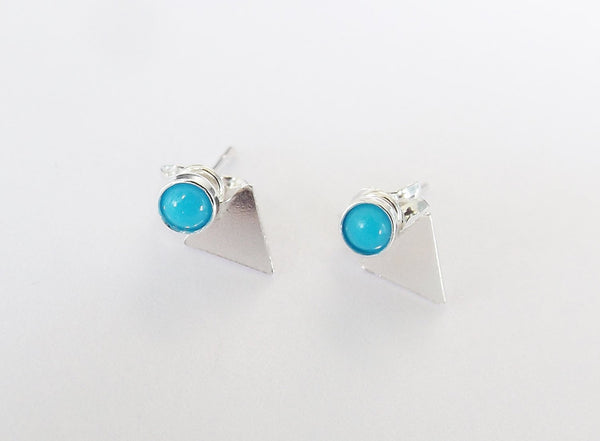 Triangle Earrings,Changeable Earrings,Ear Jackets,Gemstone Earrings,Turquoise Earrings,Boho Chic Jewelry,Modern Stud Earrings,Minimalist
