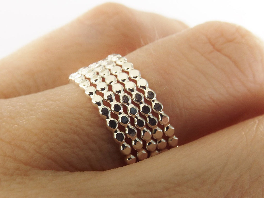 Drop Bead Ring Set, Beaded Ring Set, 5 Dots/Bubble/Beaded, Silver , Stacking ring, Stackable ring, Stacker ring, Ring sets, Bubble Ring Set