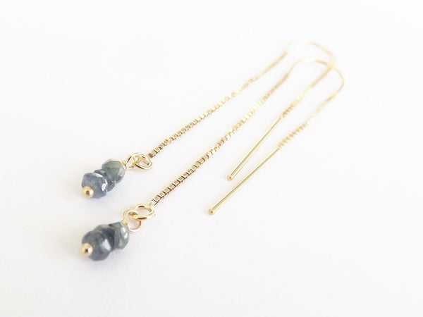Sapphire Earrings, September Birthstone, Genuine Gemstone Threader Earrings, Dainty Threader Earrings, Gold Filled, Sterling Silver, Dainty