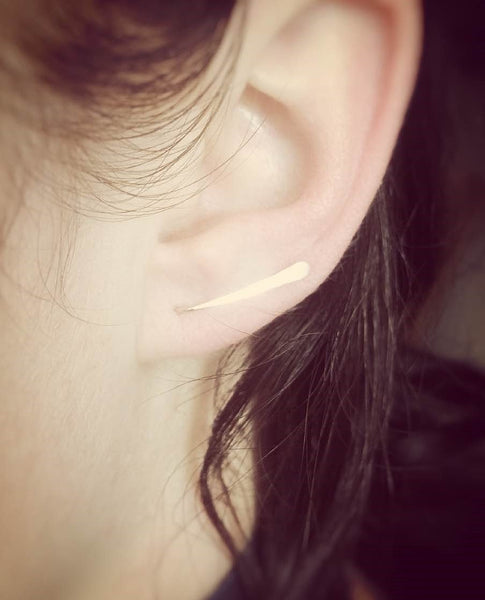 Rose Gold Pin Earrings,Tiny Bar Ear Cuffs,Hammered Wire Ear Wraps,Bar Ear Sweep,Minimalistic,Simple,Modern Jewelry,Bar Earring,Ear Cuff
