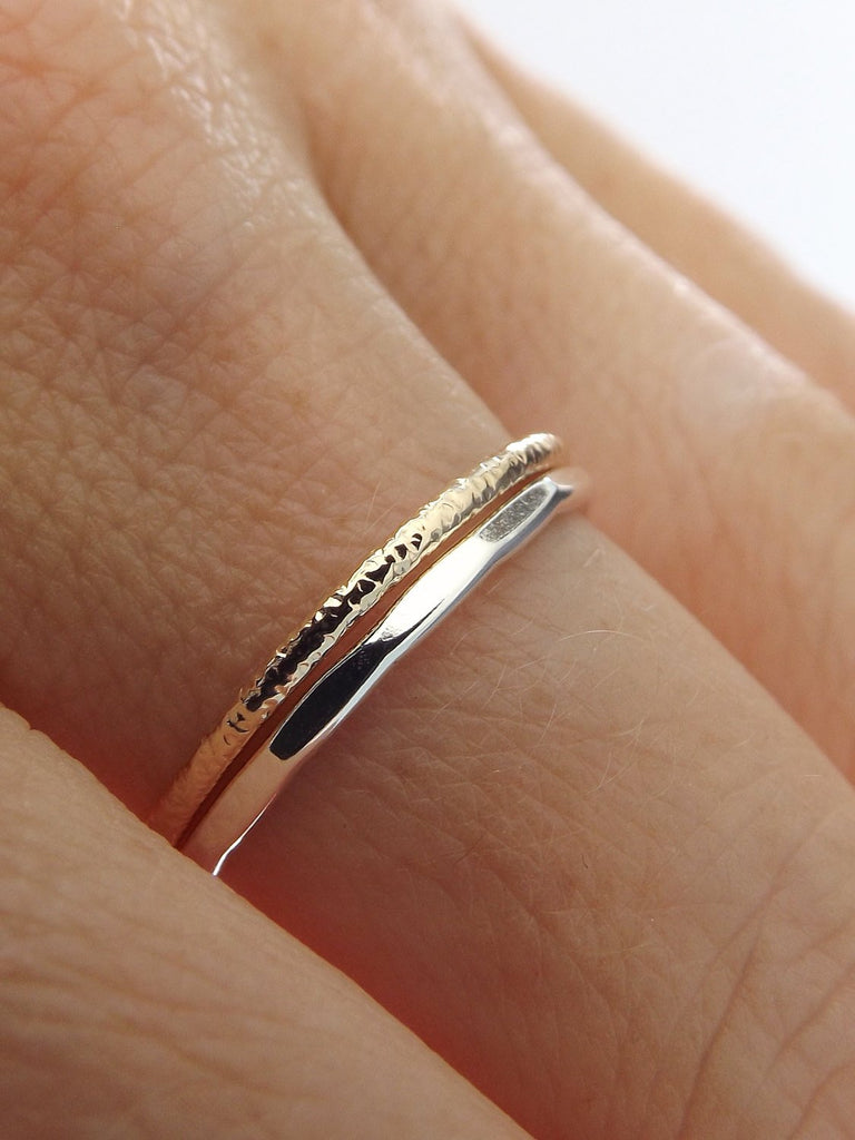 Simple Stacking Set,Mixed Metals Ring Set,Textured Rings,Faceted Ring,Boho Ring Set,Stacking Rings,Boho Chic,Yellow Goldfilled and Sterling