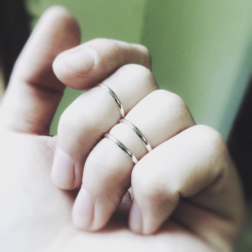 3 Knuckle Rings, Sterling Silver Knuckle Rings, Above Knuckle Rings, Midi Stack Rings, Band Knuckle Rings, Simple Rings, Everyday Rings