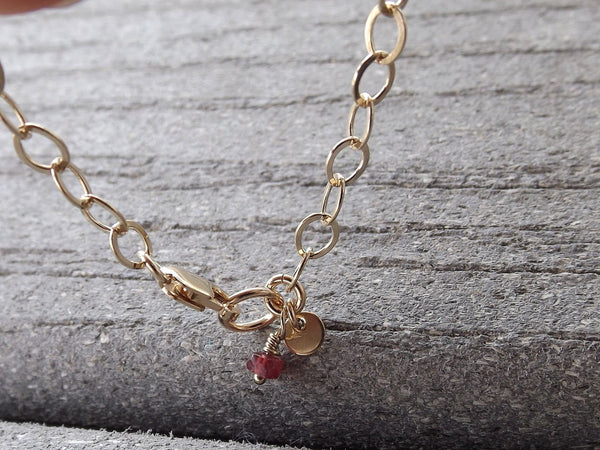 Initial Bracelet,Simple Bracelet,Chain Bracelet,Ruby Bracelet,Personalized,Letter Bracelet,Gemstone Bracelet,Everyday,Gift,Gold Letter