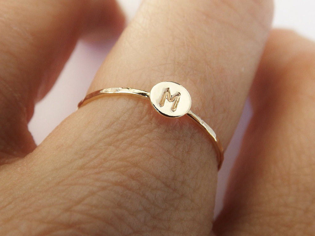 Skinny Solid Gold Initial Stacking Ring,Personalized Rings,Minimalist Rings,Initial Rings,Slim Stacking Rings,Gold Ring, Rings,Couples Rings