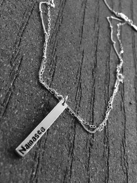 Namaste Necklace, Yoga Jewelry, Peace Necklace, Hand Stamped Necklace, Bar Necklace, Inspirational, Double Layer Necklace, Boho, Modern