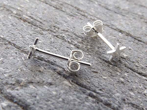 Sterling Silver Tiny Star Earrings, Silver Stud Earring, Small Star Post Earring, Modern Stud Earring, Silver Star, Simple Silver Stud, Gift