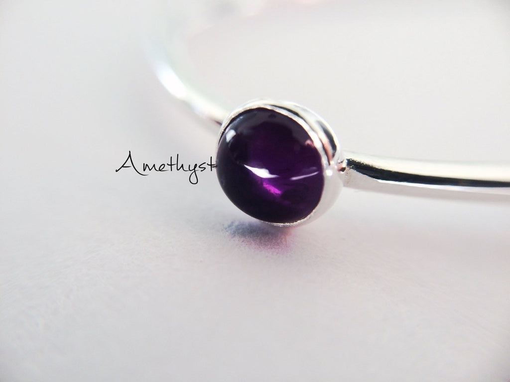 SALE-Amethyst Stacking Ring, Amethyst Ring, Natural Gem Ring, Feburary Birthstone, Amethyst, Gemstone Stacking Ring, Purple, Amethyst, Gift