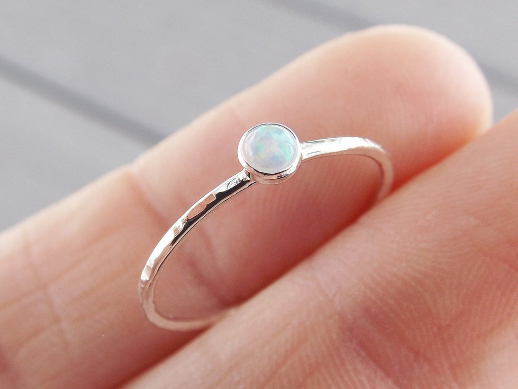 Textured Opal Stacking Ring, Slim Ring, Stacking Gemstone Ring, Opal Rings, Textured Rings, Wisper Gemstone Rings, Gift, White Opal, Gift