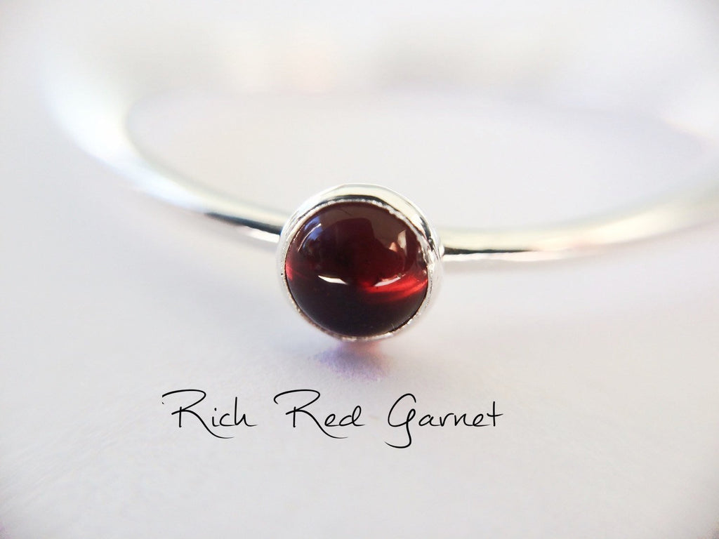 Garnet Stacking Ring, Garnet Ring, Natural Gemstone Ring, January Birthstone, Garnet, Gemstone Stacking Ring, Red, Garnet Stone, Gift