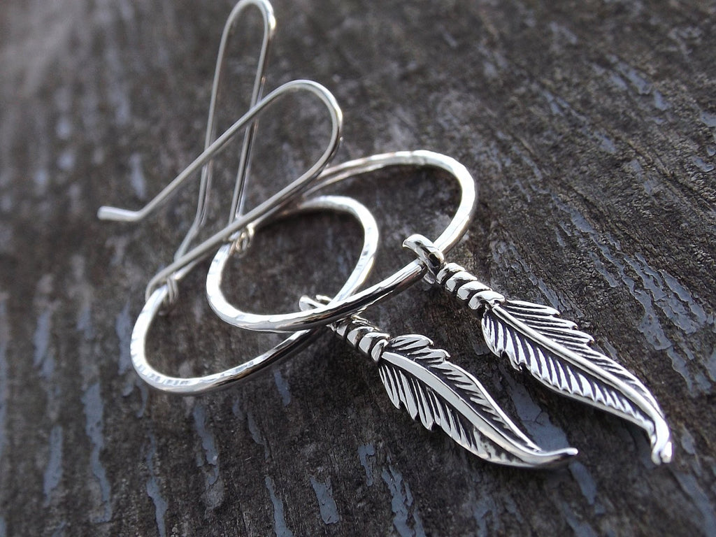 Feather Earrings, Hoop Earrigs, Long Boho Earrings, Silver Feather Earrings, Boho Earrings, Modern, Minimalist, Long Feather Hoop Earrings