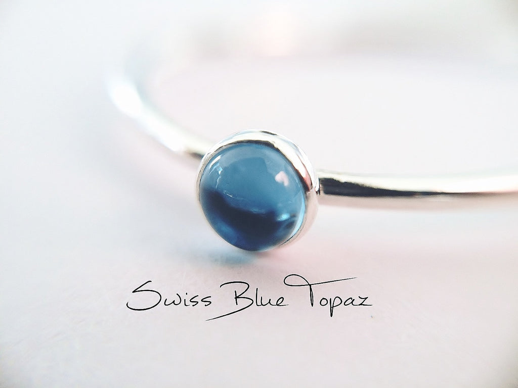Blue Topaz Stacking Ring, Blue Topaz Ring, Engagement Ring, December Birthstone, Swiss Blue Topaz, Gemstone Stacking Ring, Blue, Topaz, Gift