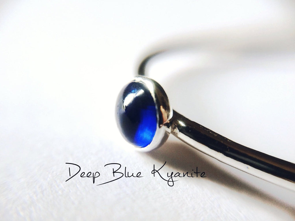 Kyanite Ring, Natural Blue Gemstone Jewelry, Simple Stacking Ring, Silver Kyanite Ring, Kyanite Jewelry, Blue, Minimalist Ring, Kyanite