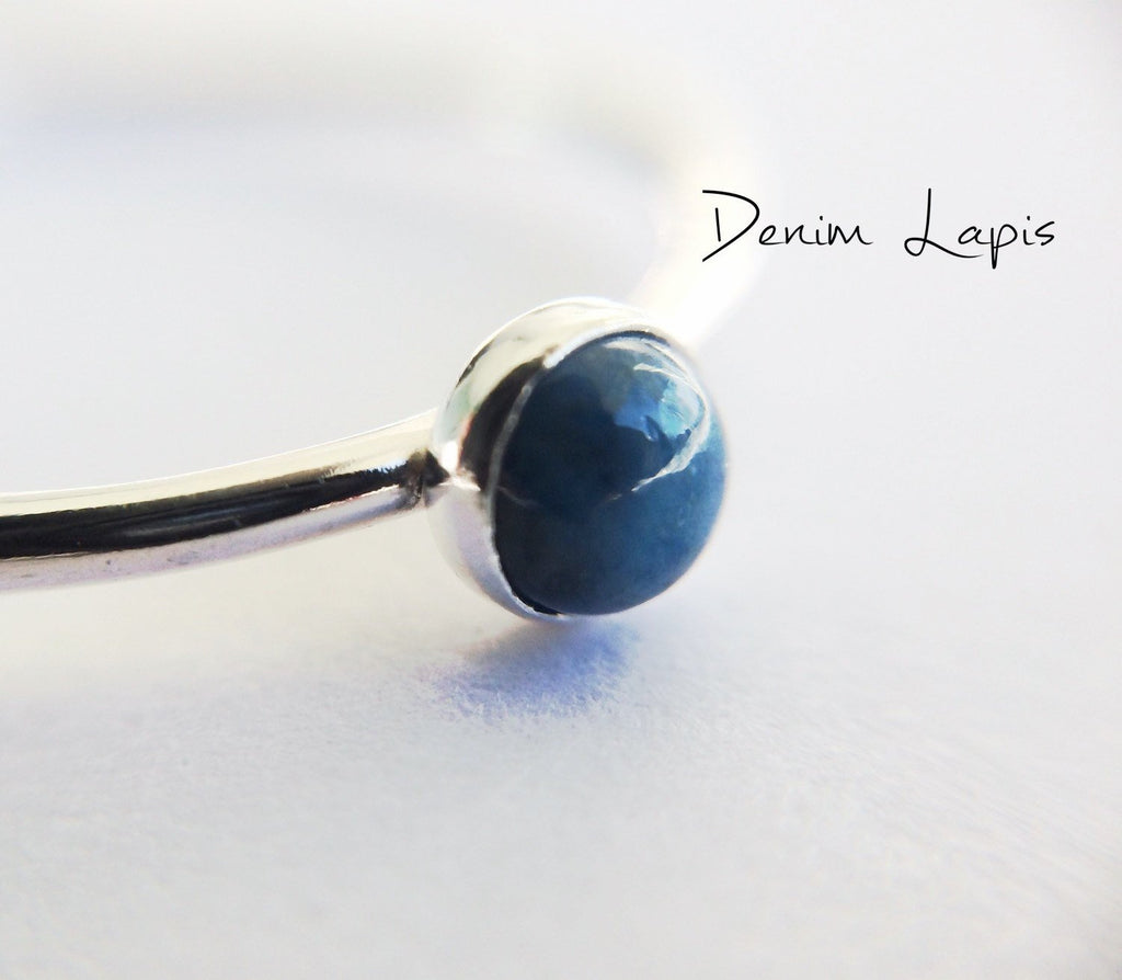 Lapis Stacking Ring, Lapis Ring, Natural Gemstone Ring, Lapis Lazuli, Denim, Gemstone Stacking Ring, Blue, Lapis Lazuli Stone, Gift