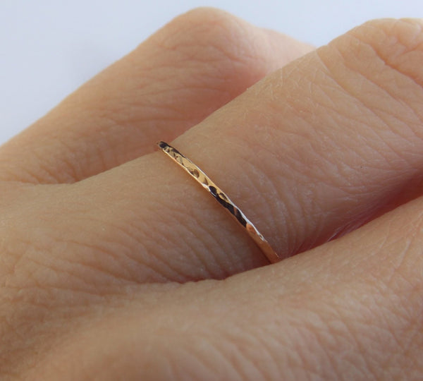 Slim Solid Gold Stacking Ring, Textured Rings, Minimalist Rings, Simple  Rings, Slim Stacking Rings, Gold Ring, Rings, Gift, Modern Band