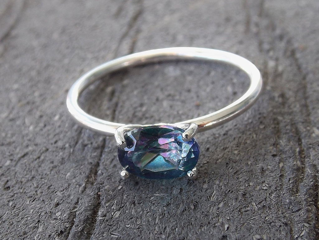 Topaz Ring, Oval Topaz, Stacking Ring, Sterling Silver Topaz Ring, Rainbow Topaz, Simple, December, Minimal, Boho, Modern, Gypsy, Gift