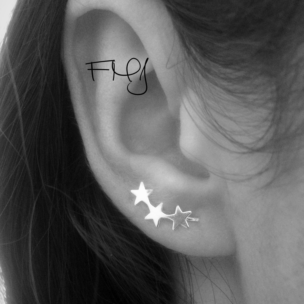 Ear Pin Earrings, Stars Cuff, Bar Ear Sweep, Wire Ear Wrap, Cuff Earring, Minimalistic, Silver Ear Pin, Ear Pin, Curved Star Sweep, Line