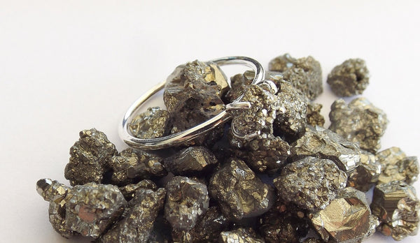 Pyrite Ring, Raw Pyrite Ring, Stacking Ring, Natural Pyrite, Rustic Ring, Simple, Minimal, Boho Chic, Raw Prong Ring, Modern, Gypsy, Gift