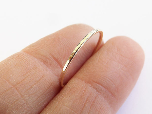 Slim Solid Gold Stacking Ring, Textured Rings, Simple Ring, Minimalist Ring, Notched Ring, Slim Stacking Rings, Solid Gold Ring, Rings, Gift