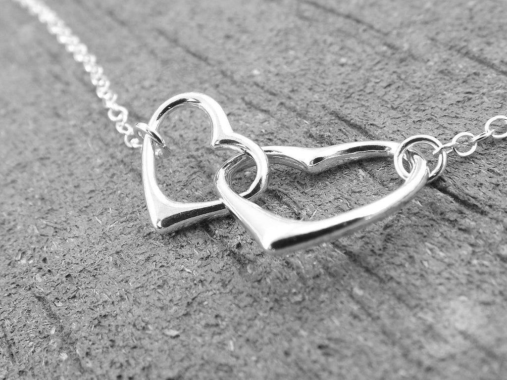 Hearts Necklace, Interlocking Hearts Necklace, Mommy and Me Necklace, Simple Hearts Necklace, Silver Heart Necklace, Minimal Heart Necklace